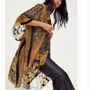Free People Beguiled Patchwork Velvet Kimono O/S